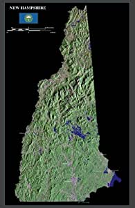 "New Hampshire from space satellite map / print poster / photo: 24"" x 37"" Glossy"