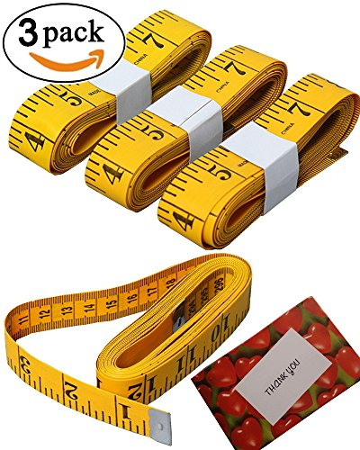 BSLINO 3 Piece Double-Scale Soft Tape Measuring Weight Loss Medical Body Measurement Sewing Tailor Cloth Dressmaker Flexible Ruler, Heavy Duty