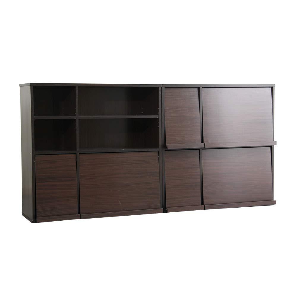 グランデ ディスプレイラック 書棚 2個セット リビング収納 DELAY2-DBR ダークブラウン B07PRLNYQG ダークブラウン