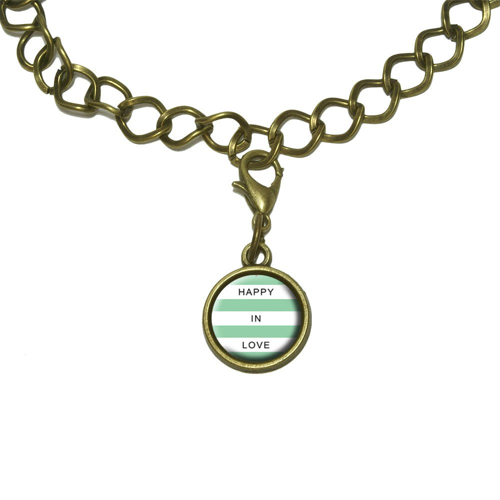 Happy in Love Mint Charm with Chain Bracelet