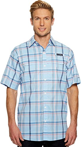 Columbia Mens Super Low Drag Short Sleeve Shirt, Sail Open Plaid, Large