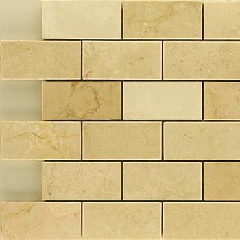 2x4 Crema Marfil Polished Stone Mosaic Backsplash Marble Tile