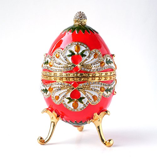 Hand- Painted GIANT Vintage Style Faberge Egg with Rich Enamel and Sparkling Rhinestones Jewelry Trinket Box (FREE PRIORITY SHIPPING) (Luxury)