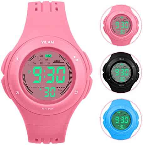 Kids Watch Waterproof Children Electronic Watch - Lighting Watch 50M Waterproof for Outdoor Sports,LED Digital Stopwatch with Chronograph, Alarm, Child Wrist Watch for Boys, Girls - PerSuper (Pink)
