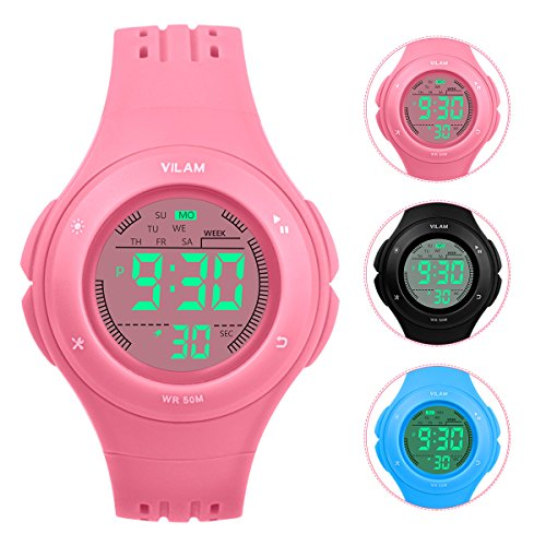 Kids Watch Waterproof Children Electronic Watch - Lighting Watch 50M Waterproof,LED Digital Stopwatch with Chronograph, Alarm, Child Wrist Watch Boys, Girls