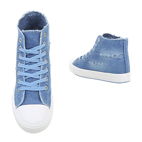 R15 Sneaker Donna High da Design Ital Scarpe Blu Piatto Sneakers FqPapz