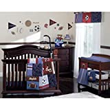 9 Piece Baby Boys Blue Red Brown Sports Crib Bedding Set, Newborn Football Nursery Bed Set, Infant Child Patchwork Baseball Soccer Ball Stripes Helmet Comforter Blanket, Cotton Polyester