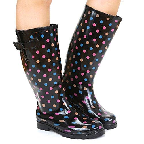 Twisted Frauen Drizzy Tall Cute Gummiregen Stiefel Rosa Tupfen