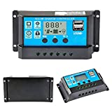Y&H 30A Solar Charge Controlle 12V/24V Solar Panel Controller Auto Paremeter Adjustable LCD Display Solar Panel Battery Regulator with Dual USB