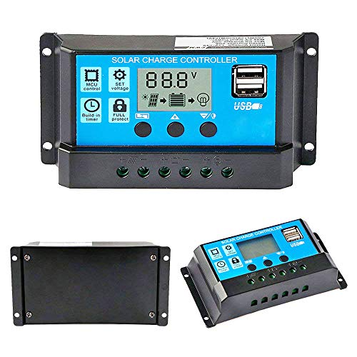 Y&H 10A PWM Charge Controller with LCD Display Dual USB,Load Timer Setting ON/Off Hours,Solar Panel Controller for 12V 24V Lead Acid Batteries,Max 120 watt / 240 watt Solar Panel Battery Regulator (Solar Panel 240w)
