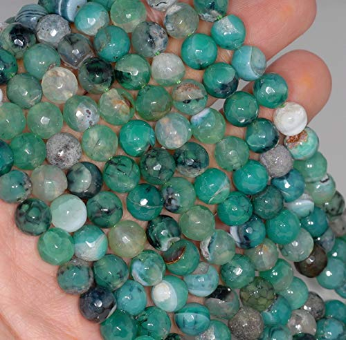 8MM Green Dragon Vein Agate Gemstone Faceted Round Loose Beads 14.5