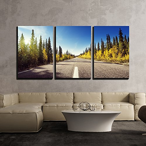wall26 - 3 Piece Canvas Wall Art - Road in Autumn Forest, Sweden - Modern Home Decor Stretched and Framed Ready to Hang - 24