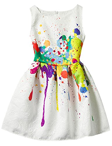 21KIDS Creative Art Colorful Paint Print Easter Dress for Summer Girls Casual Size 3-12