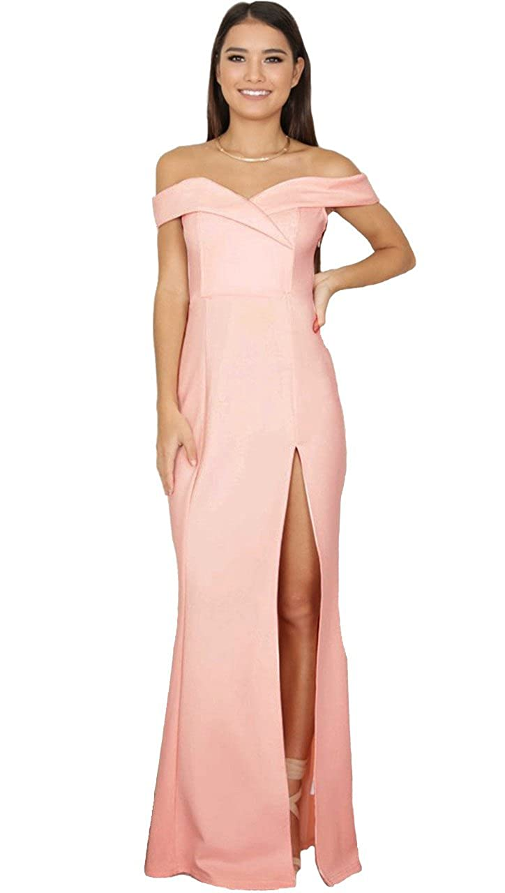 f83e746479ca The Anastacia Off Shoulder Sweetheart Maxi Gown Dress High Slit Baby Pink  at Amazon Women s Clothing store