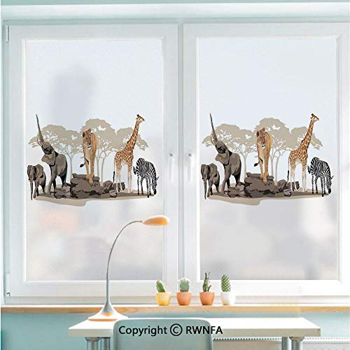 RWNFA Window Glass Sticker Door Mural Illustration of Wild Savannahs African Animals Exotic Giraffe Lion Elephant Zebra Static Cling Privacy No Glue Film Home Decorative 22.8x35.4inch,Multicolor