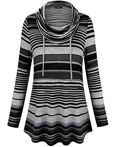 VAFOLY Womens Long Sleeve Striped Floral Print Drawstring Pullover Pocket Cowl Neck Tunic Sweatshirts Tops