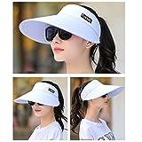 145acba9502 Sun Visor Hats Women 5.5   Large Brim Summer UV Protection Beach Cap (All  White)