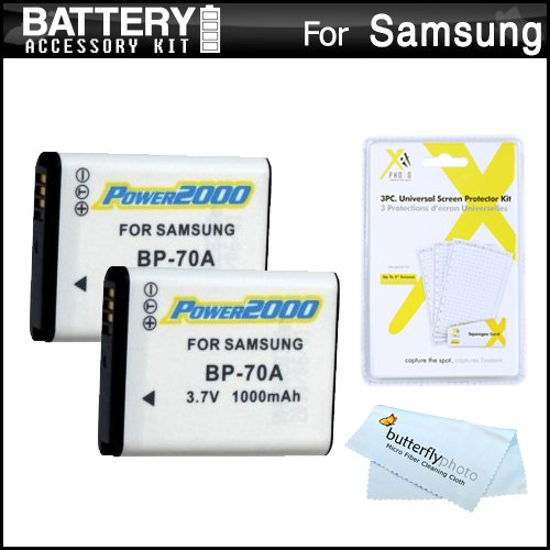 2 Pack Battery Kit For Samsung WB50F, WB35F, WB30F, ST150F, DV150F, ST76, EC-PL120, MV800 MultiView Digital Camera Includes 2 Extended Replacement (1000Mah) BP-70A Batteries + Screen Protectors + More