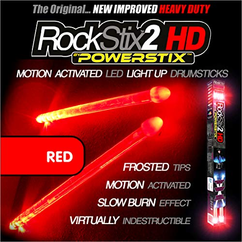❤️️ROCKSTIX 2 HD RED, BRIGHT LED LIGHT UP DRUMSTICKS, with fade effect, Set your gig on fire! (RED ROCKSTIX)