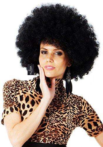 ALLAURA Afro Wig Black Mega Huge 70s Disco Costume Wigs | Fits Women & Men Kids -