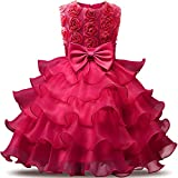 NNJXD Girl Dress Kids Ruffles Lace Party Wedding Dresses Size (80) 7-12 Months Flower Rose
