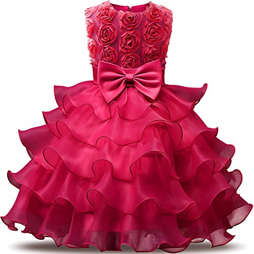 NNJXD Girl Dress Kids Ruffles Lace Party Wedding Dresses Size (140) 6-7 Years Flower Rose]()