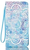 LG Stylo 3 Case, LG Stylo 3 Plus Case, Stylo 3 Wallet Case, JanCalm [Kickstand] [Card/Cash Slots] [Wrist Strap] [3D Painted] Pattern Premium PU Leather Fold Flip Pouch Cover (Mandala Flower Pattern)