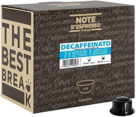 Note D'Espresso, capsule di caffè per macchine Caffitaly, Decaffeinato, confezione da 100 x 6,8 g