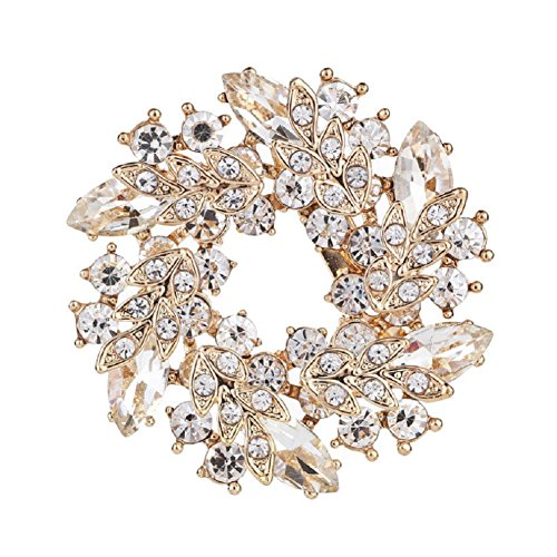 Wreath Brooch (Daisy Jewelry Vintage Rhinestone Bridal Wedding Bouquet Flower Wreath Brooch Pins For Sale)