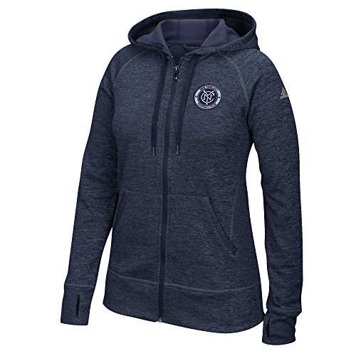 fan products of MLS New York City F.C. Women's Primary Logo Left Chest Team Issue Full Zip Hood, Large, Collegiate Navy