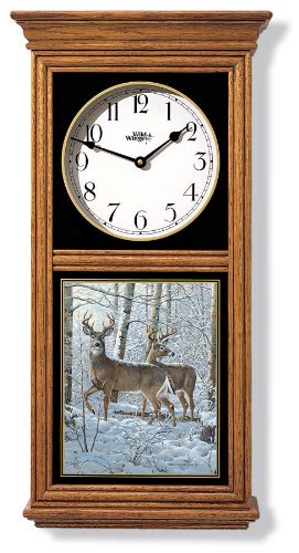 Whitetail Deer Regulator Clock by Persis Clayton Weirs (Regulator Glass Clock)
