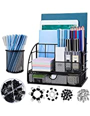 $22 » Office Supplies Desk Organizer Caddy with 6 Compartments + Pen Holder / 72 Accessories, Mesh Desk Organizers with Drawer, for Office, Home, School (Black)