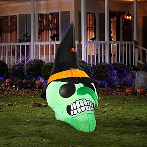 amazoncom halloween inflatable 6 ft evil skull airblown outdoor yard prop patio lawn garden - Halloween Inflatable Yard Decorations