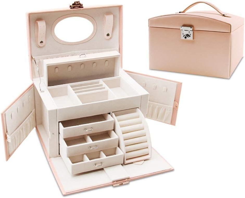 ジュエリーボックス 多層ボックス化粧オーガナイザーロックジュエリーオーガナイザーブレスレットイヤリング&リング小箱包装ケース収納ボックス 大容量 (Color : Light pink, Size : One size)