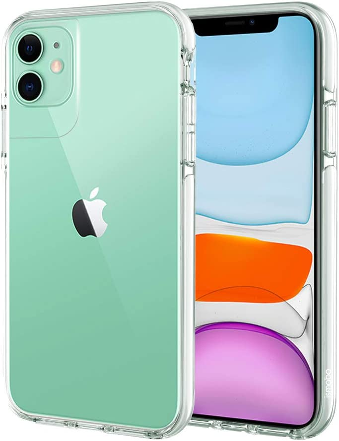 ismabo Case for iPhone 11, [10 Ft Military Grade Drop Tested] Protective Case for iPhone 11 Drop Protection Cover Case Shockproof Soft TPU Bumper with Transparent Anti-Scratch Hard Back- White Bumper