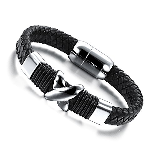 Braided Leather Stainless Steel Bracelet, 3 Styles for Choices Silver Black 6.7