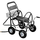 VonHaus 300ft Garden Hose Reel Cart with 4 Wheels & Basket - Metallic Finish