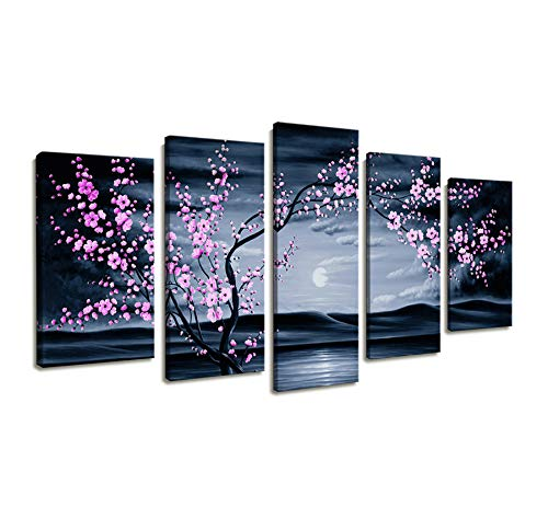 Canvas Wall Art for Bedroom Decor/5 Piece Modern Framed Artwork Wall Painting Flower Pictures for Living Room Purple Plum Cherry Blossom Sunset Beach Decorations for Home Office Bathroom Wall ()