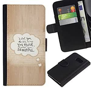 LASTONE PHONE CASE / Lujo Billetera de Cuero Caso del tirón Titular de la tarjeta Flip Carcasa Funda para Samsung Galaxy S6 SM-G920 / Beautiful Love Quote Bubble Text Brown
