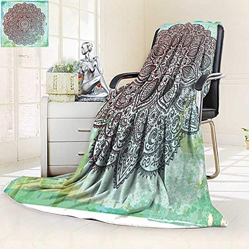 (YOYI-HOME Warm Microfiber Duplex Printed Blanket Beautiful Vintage Ornament can be Used as a Greeting Card Anti-Static,2 Ply Thick,Hypoallergenic/86.5