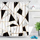 white marble bathroom  Abstract Geometric Shower Curtain, Black and White Marble Texture Bathroom Curtain Set with Hooks,72x72 Inch Waterproof Anti Mildew Fabric Bathtub Decor