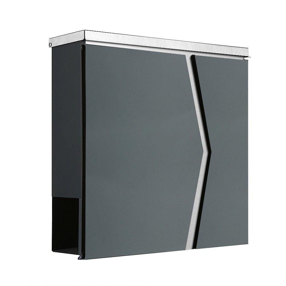 Buz/ón 111/Ade Tapa de acero inoxidable ventana//revistero//peri/ódicos solo 1/x gastos de env/ío para todas las Pedidos cuerpo en antracita RAL7016