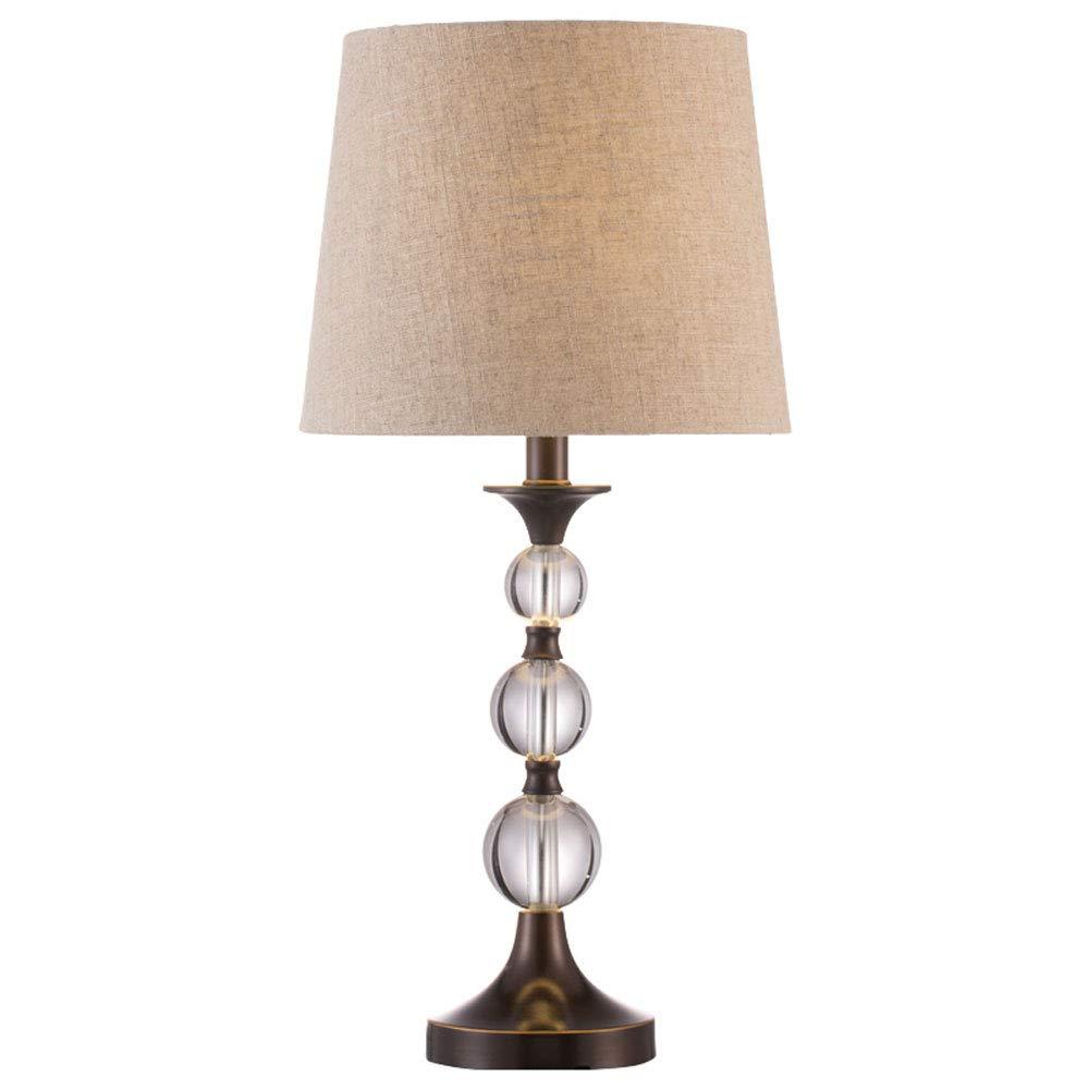 Europäische Kristalltischlampe Tuch Lampenschirm Glatte Linie KristallKörper Schlafzimmerhaus Kreatives Weiches Licht