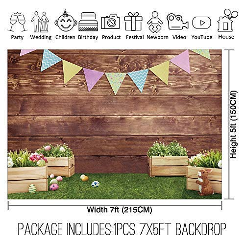 Allenjoy 7x5ft Fabric Spring Easter Backdrops for Girls Photography Wrinkle Free Happy Bunny Rabbit Green Grass Brown Wooden Wall Baby Shower Kids Newborn Portrait Background Photo Studio Shooting by Allenjoy (Image #1)