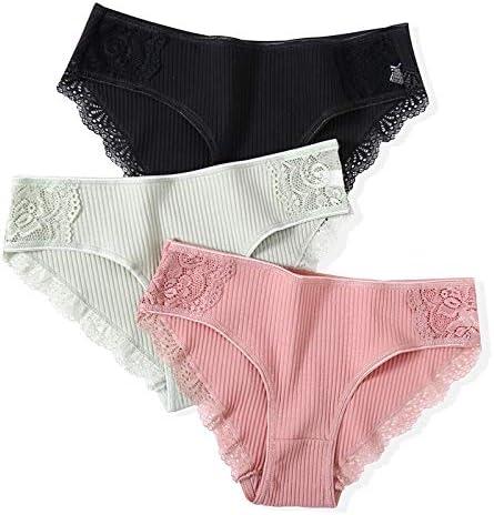 Bzbhd 綿パンティ3pcsの/ロットソリッド女性のパンティーコンフォート下着の女性のセクシーなローライズショーツインナーL XLのために皮膚に優しいブリーフ (色 : Set 9, サイズ : 3PCS)