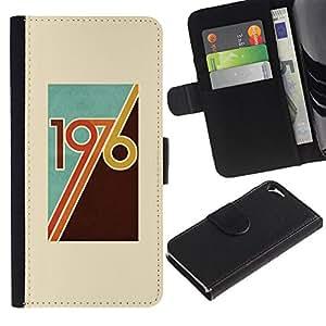 Paccase / Billetera de Cuero Caso del tirón Titular de la tarjeta Carcasa Funda para - 1976 birth retro vintage year disco music - Apple Iphone 5 / 5S