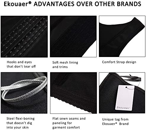 Ekouaer Womens Waist Trainer Underbust Corset Cincher Steel Boned Body Shaper Tummy Control Shapewear Slim Trimmer S-4XL