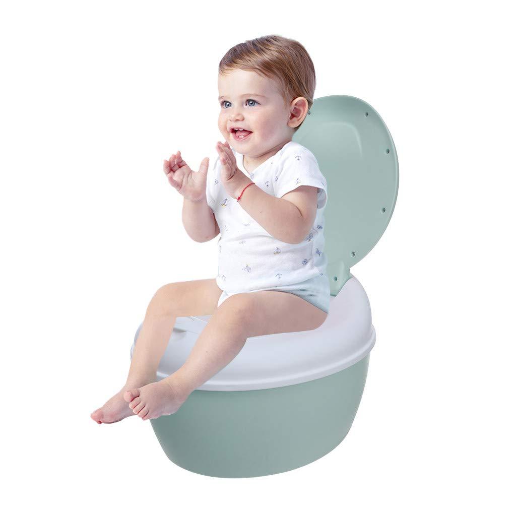 Hellofishly Potty Training Seat for Kids Toddlers Boys Girls Toilet Seat with Anti-Slip Stripe and Backrest,Non-Slip with Splash Guard Safe Non-Toxic Plastic Vinyl (Blue)