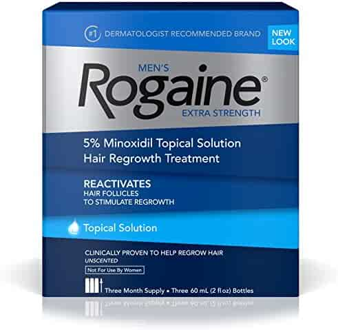 Rogaine Men's Hair Loss & Hair Regrowth Treatment, Minoxidil Topical Solution, Three Month Supply (pack of 3)