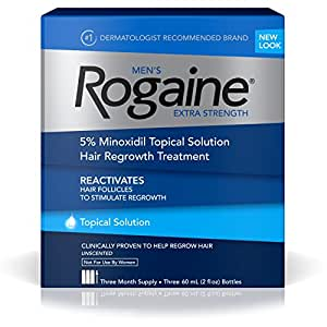 Men's Rogaine Hair Loss and Hair Regrowth Treatment, Minoxidil Topical Solution, Three Month Supply, (Pack of 3)